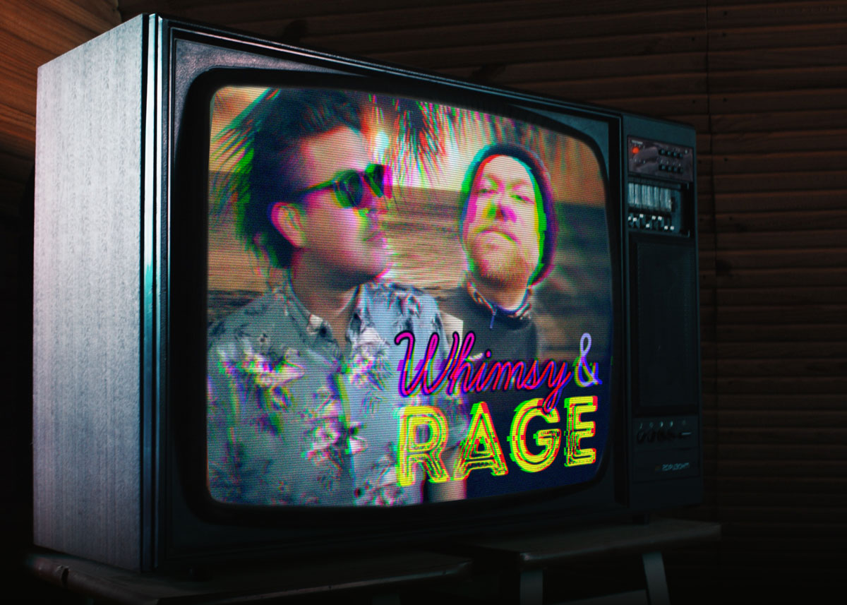 Whimsy & Rage titlecard on TV.